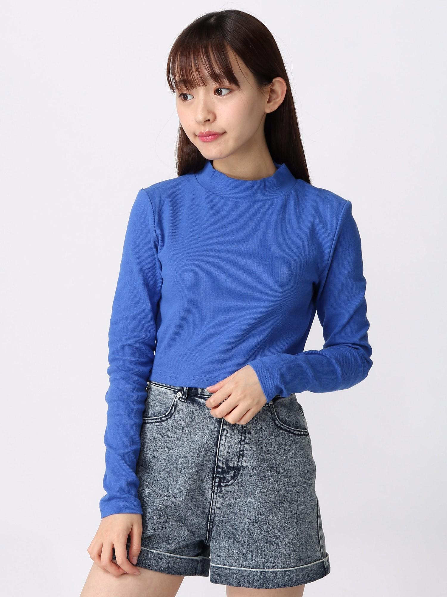 WEGO/クロップドハイネックTシャツ
