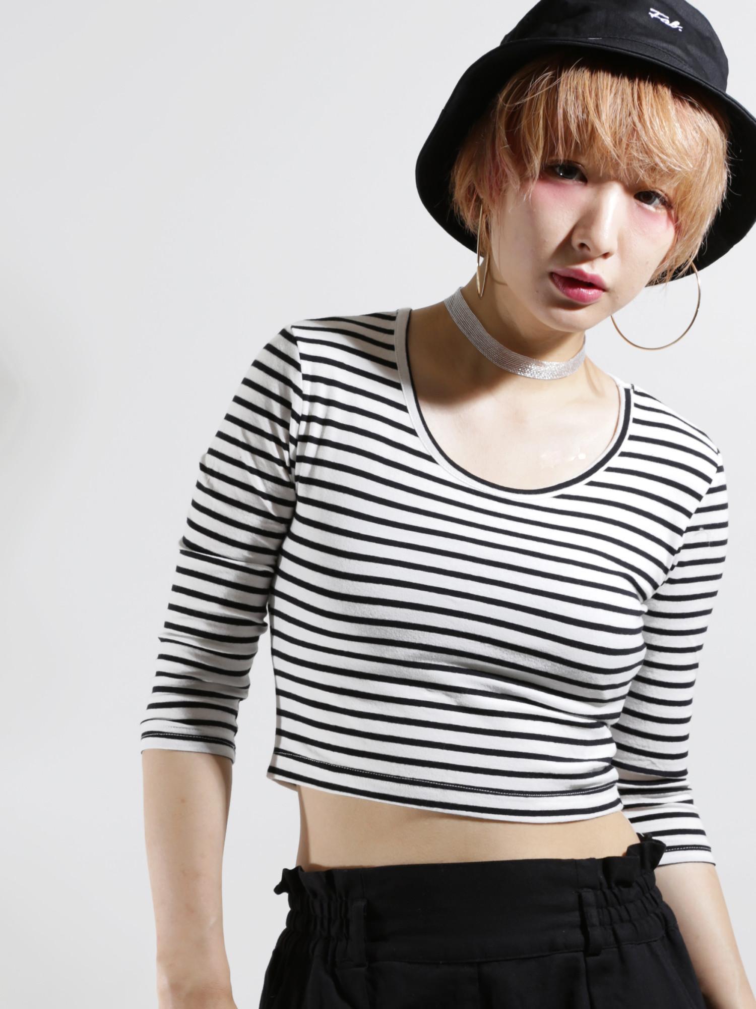 WEGO/柄ピチ7分袖Tシャツ
