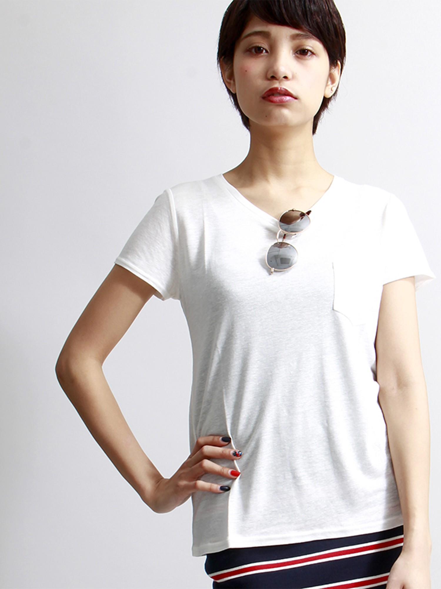 WEGO/リネンモダールUネックTシャツ