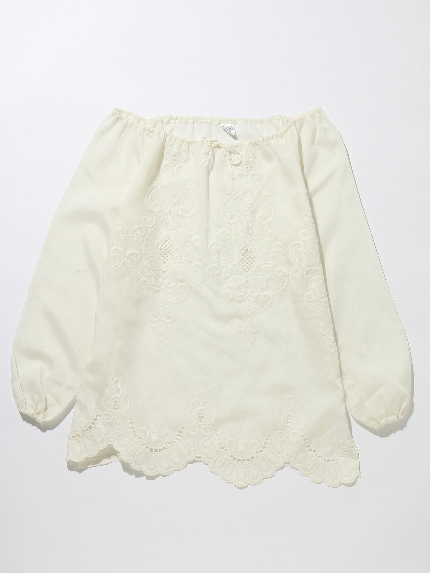 【USED】70'sチュニックサイズ表記3刺繍ホワイト