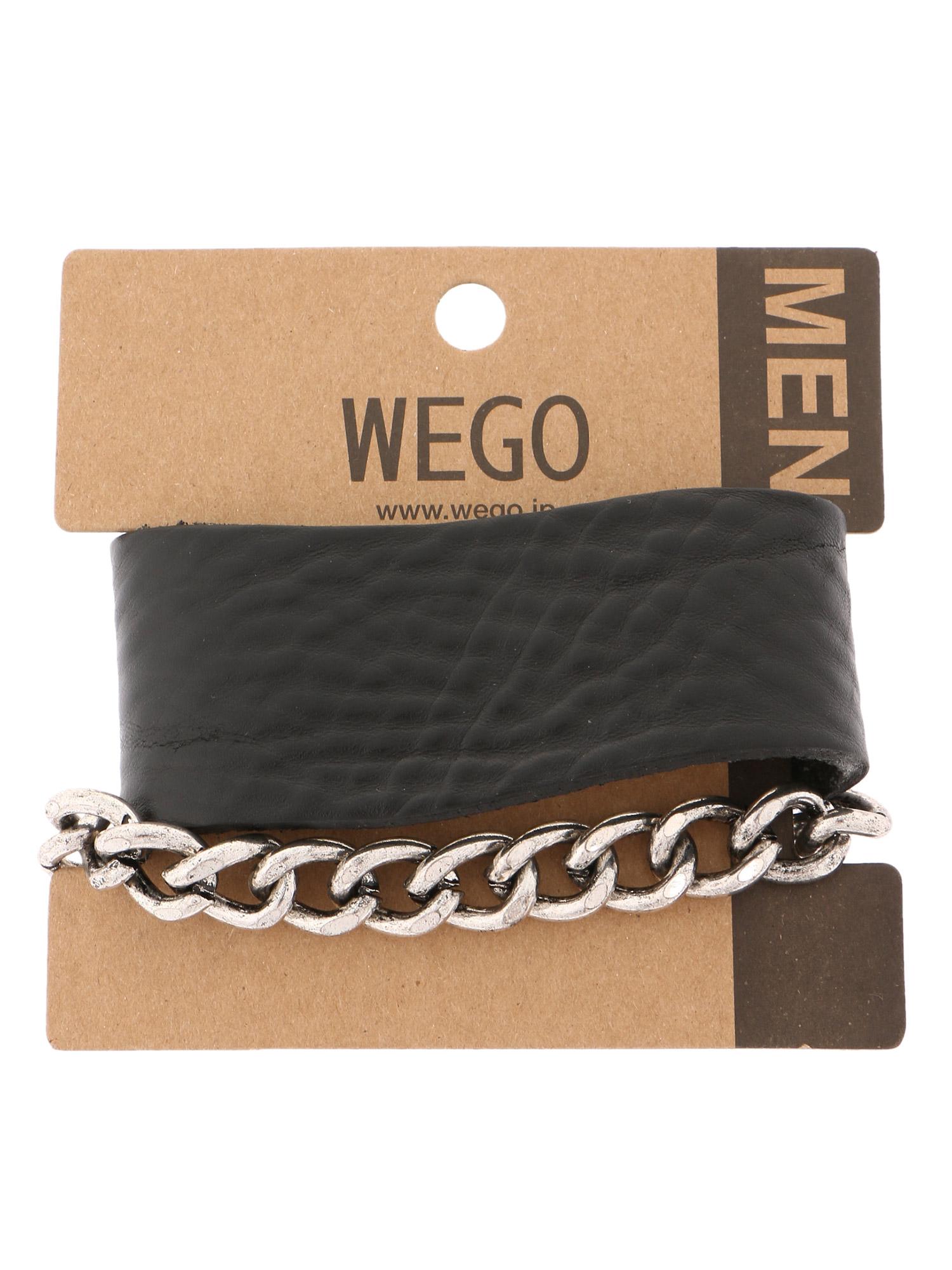 WEGO/レザーチェーンセットブレスレット