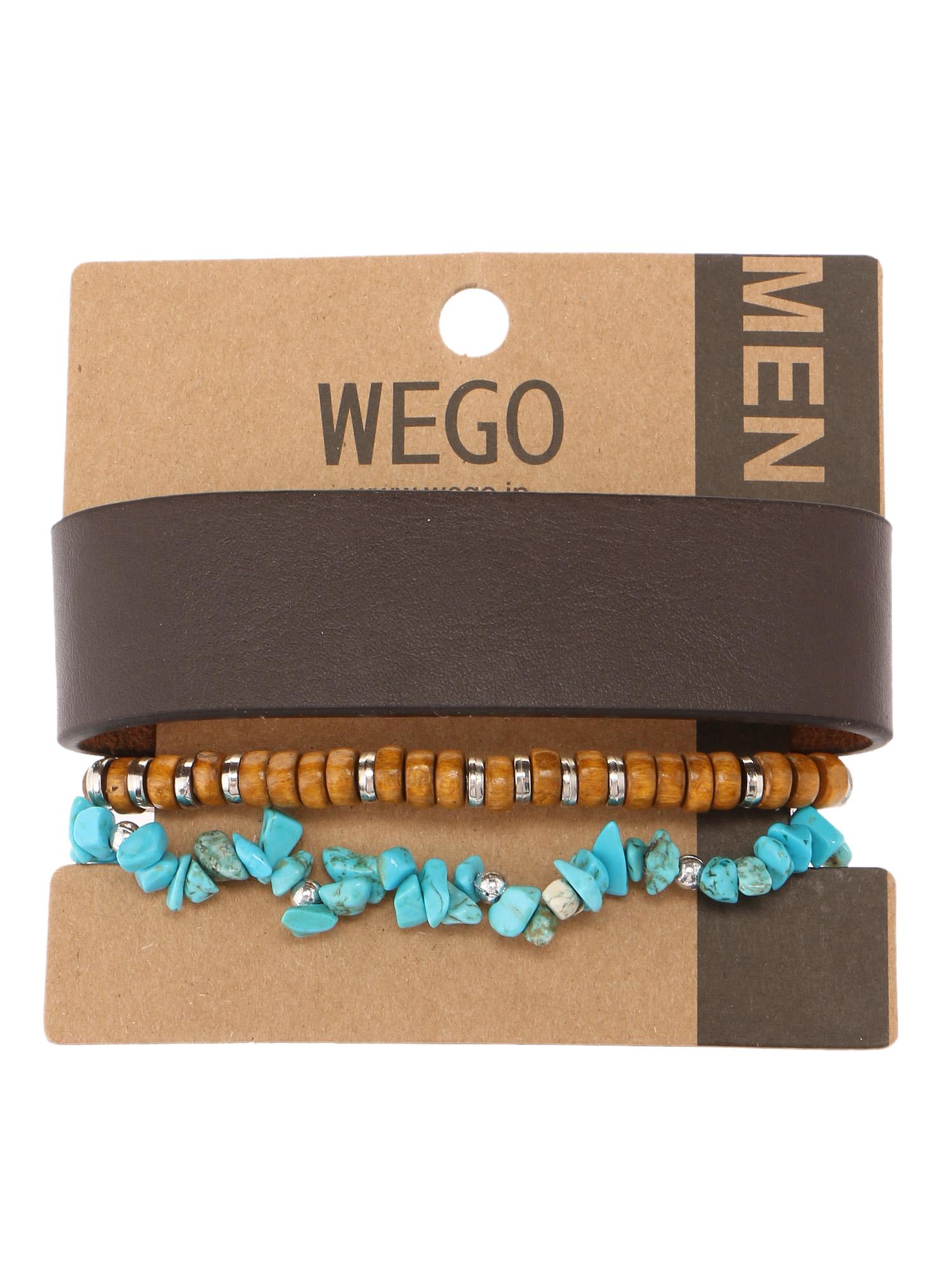 WEGO/レザーミックスセットブレスレット