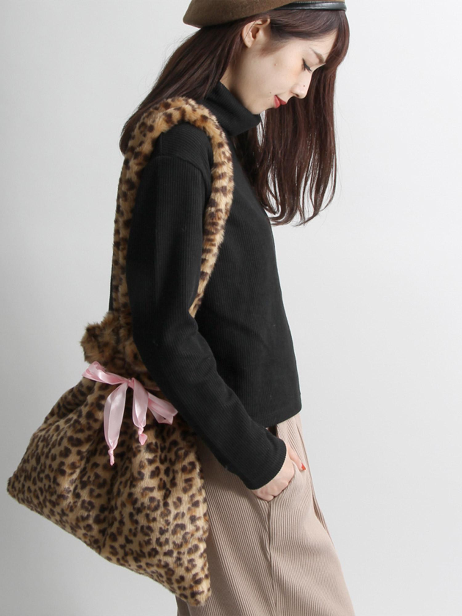 WEGO/リボン巾着ファートートバッグ