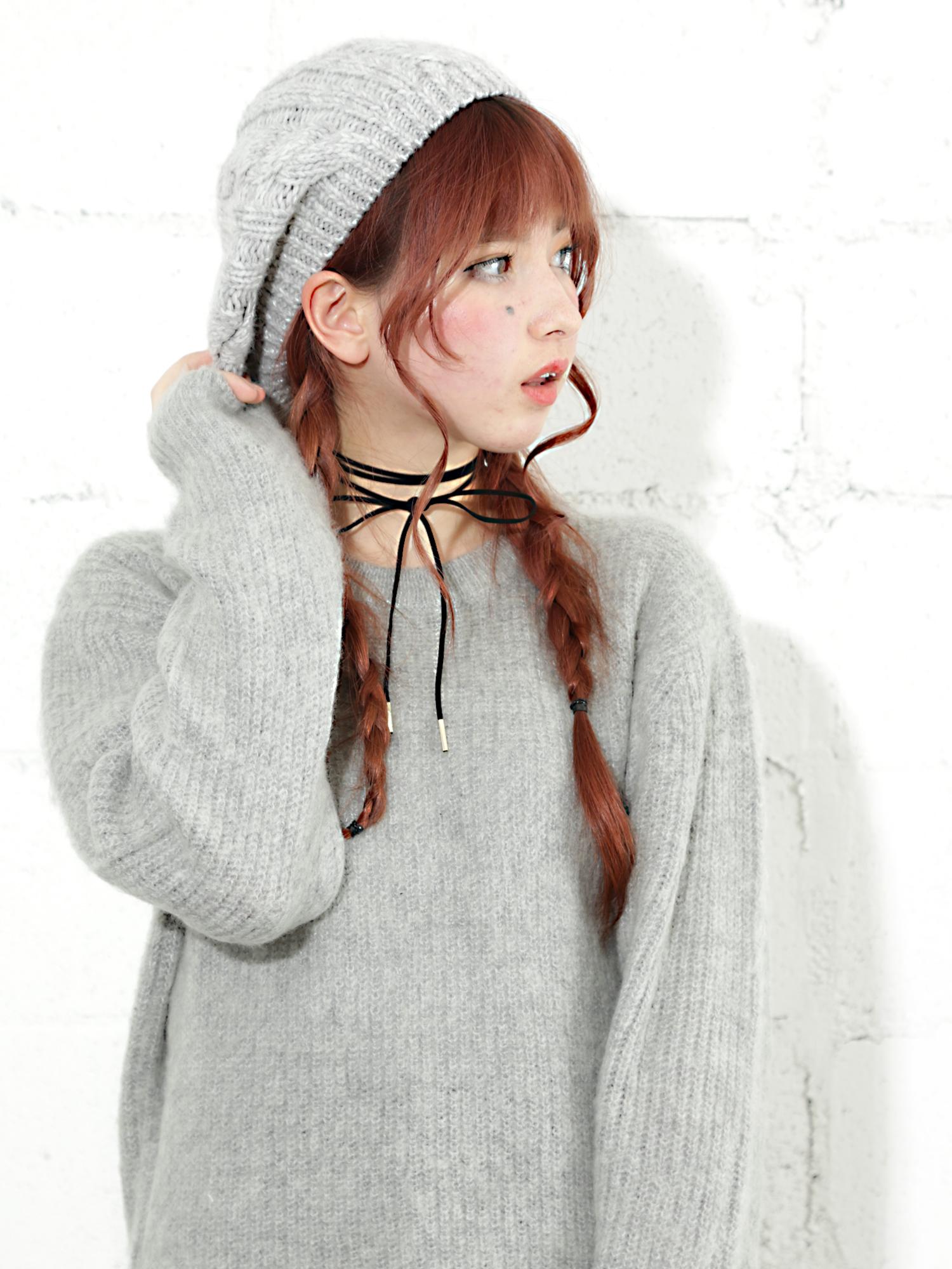 WEGO/ウールケーブルニットベレー帽