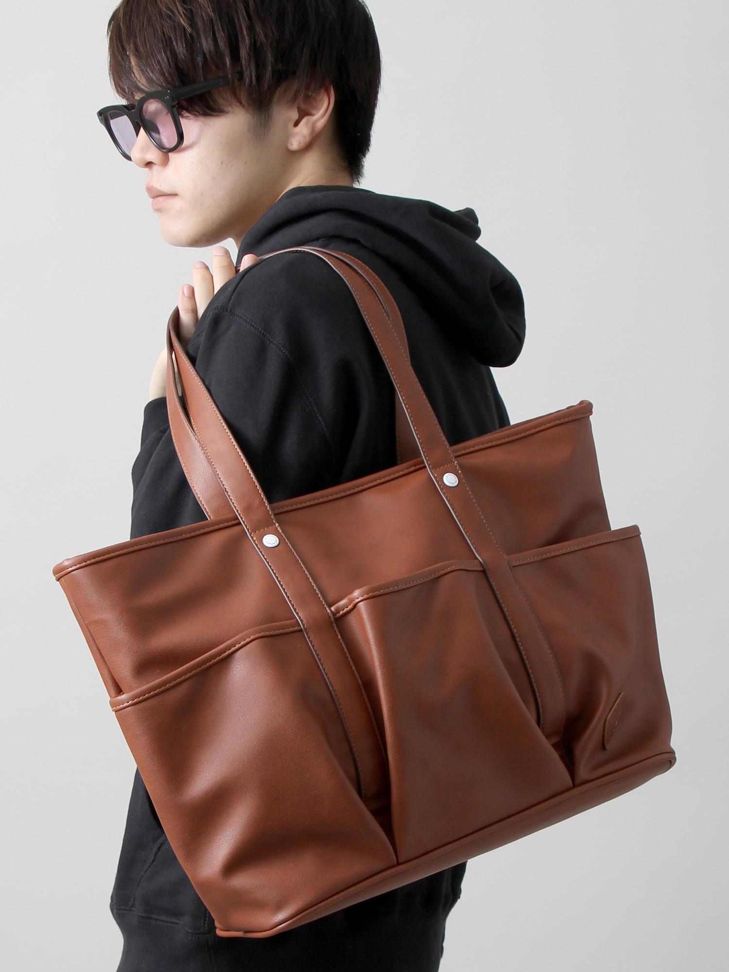 WEGO/フェイクレザー3ポケットトートバッグ
