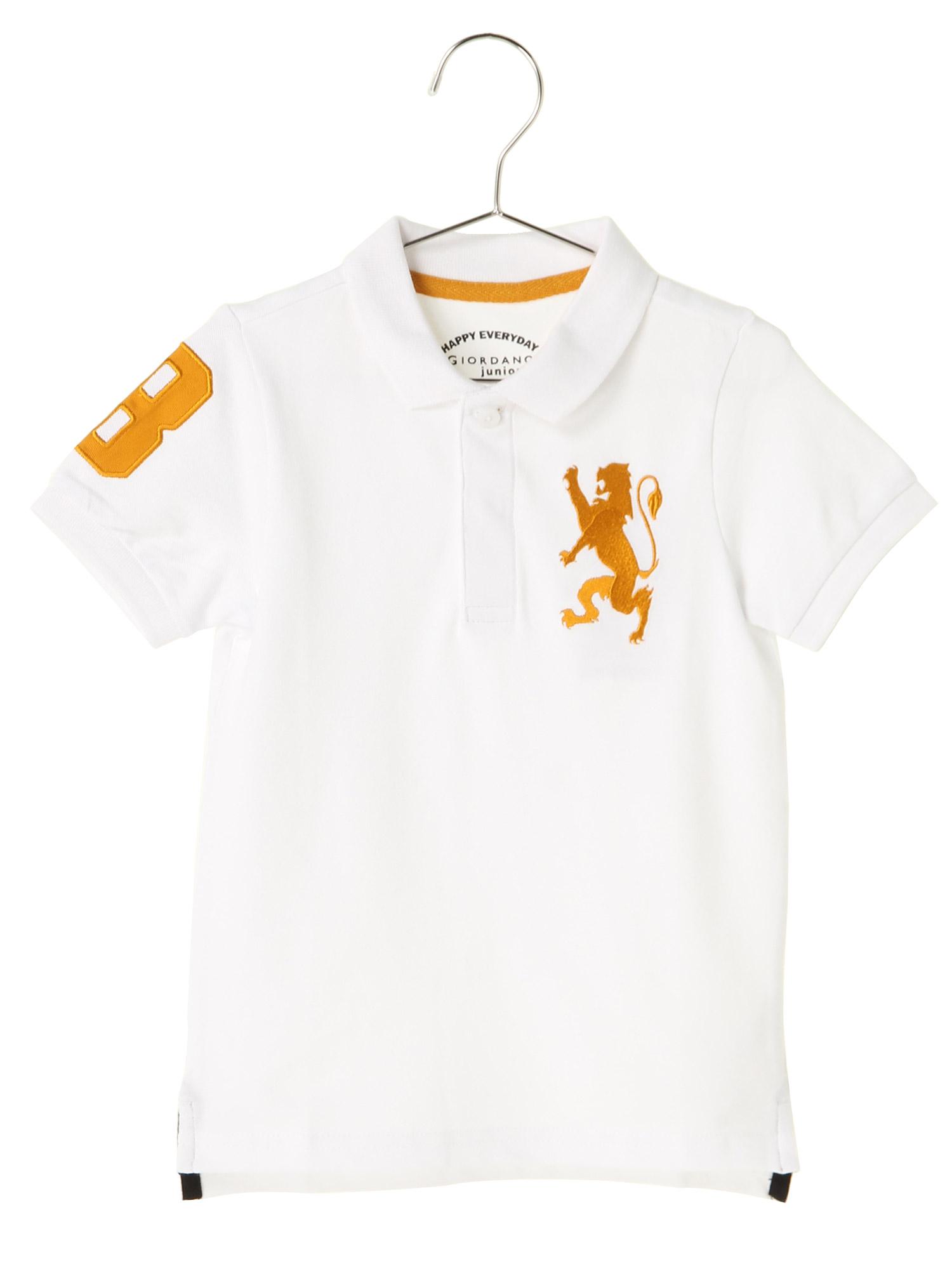 [GIORDANO]ライオン刺繍半袖ポロシャツ