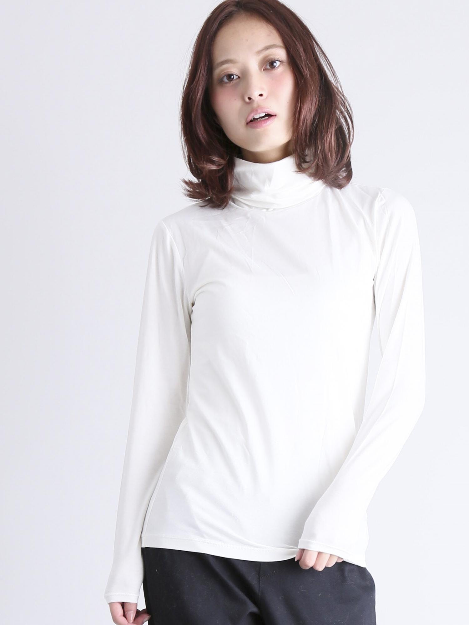 [GIORDANO][暖かインナー]G-WARMERハイネック長袖Tシャツ