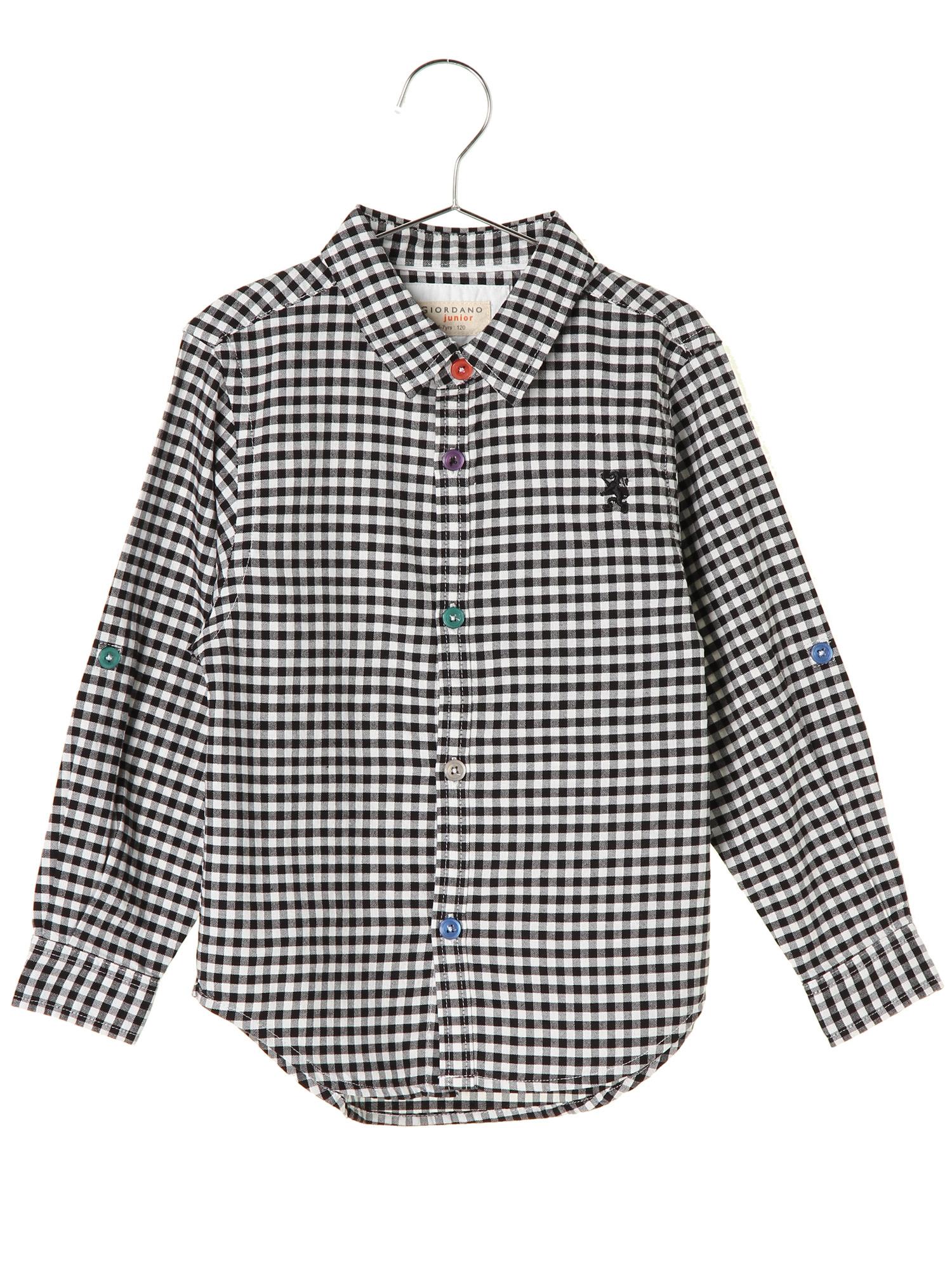[GIORDANO]ライオン刺繍オックスフォードギンガムチェックシャツ