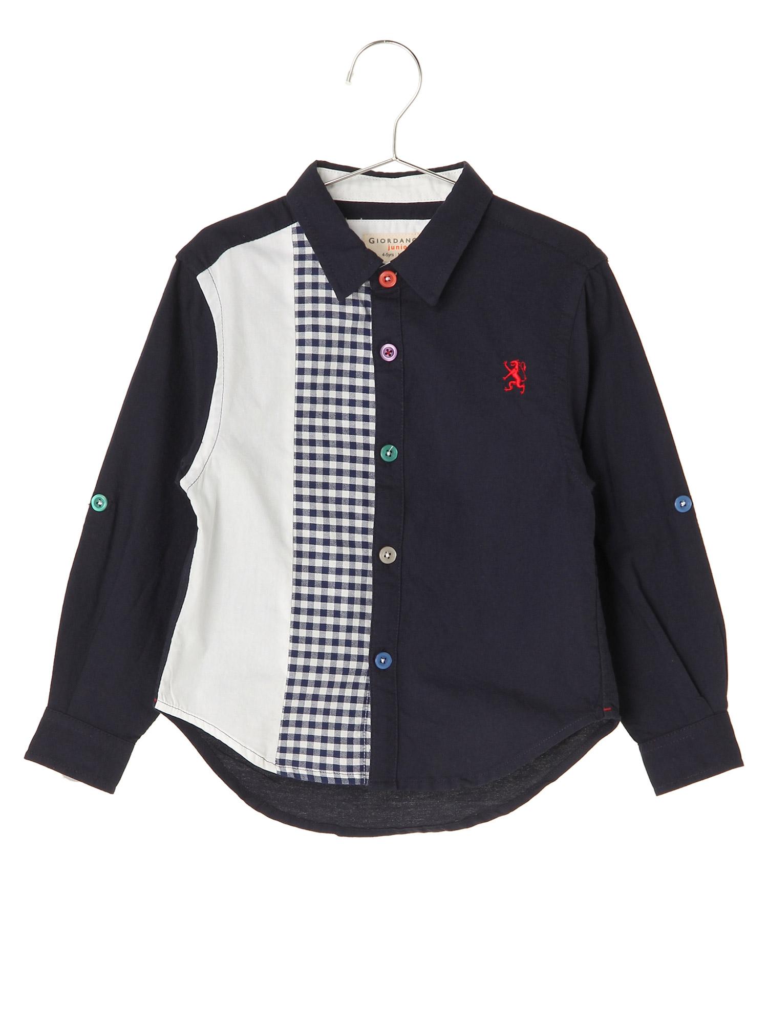 [GIORDANO]ライオン刺繍ブロッキングデザインオックスフォードシャツ