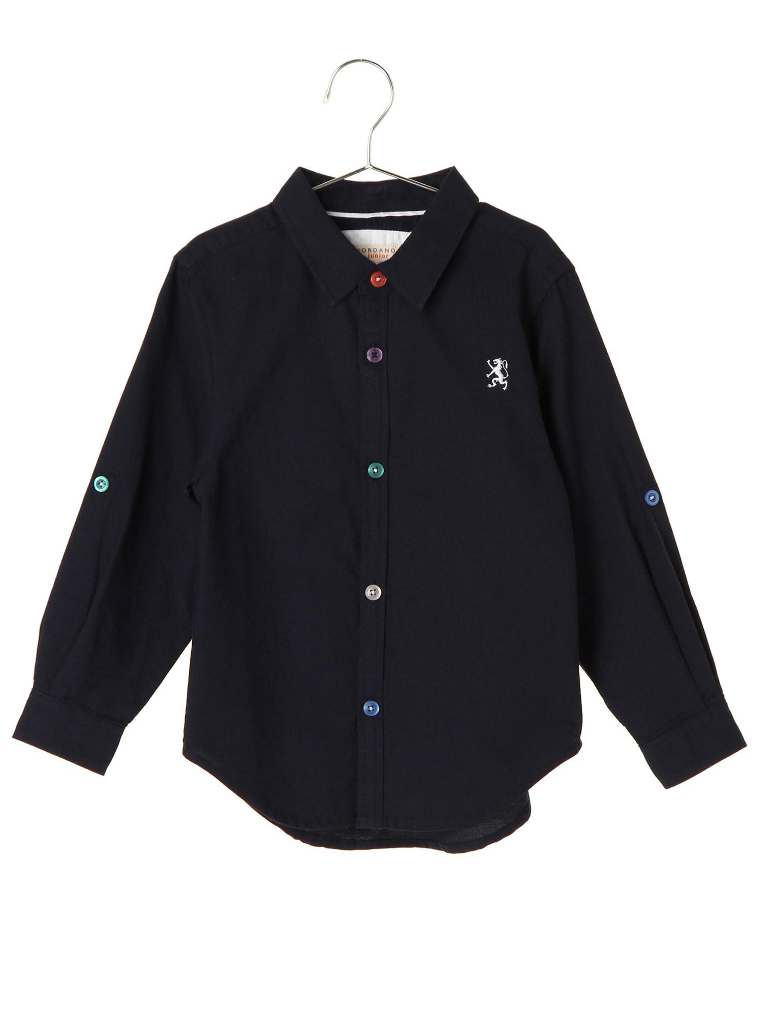 [GIORDANO]ライオン刺繍オックスフォード長袖シャツ