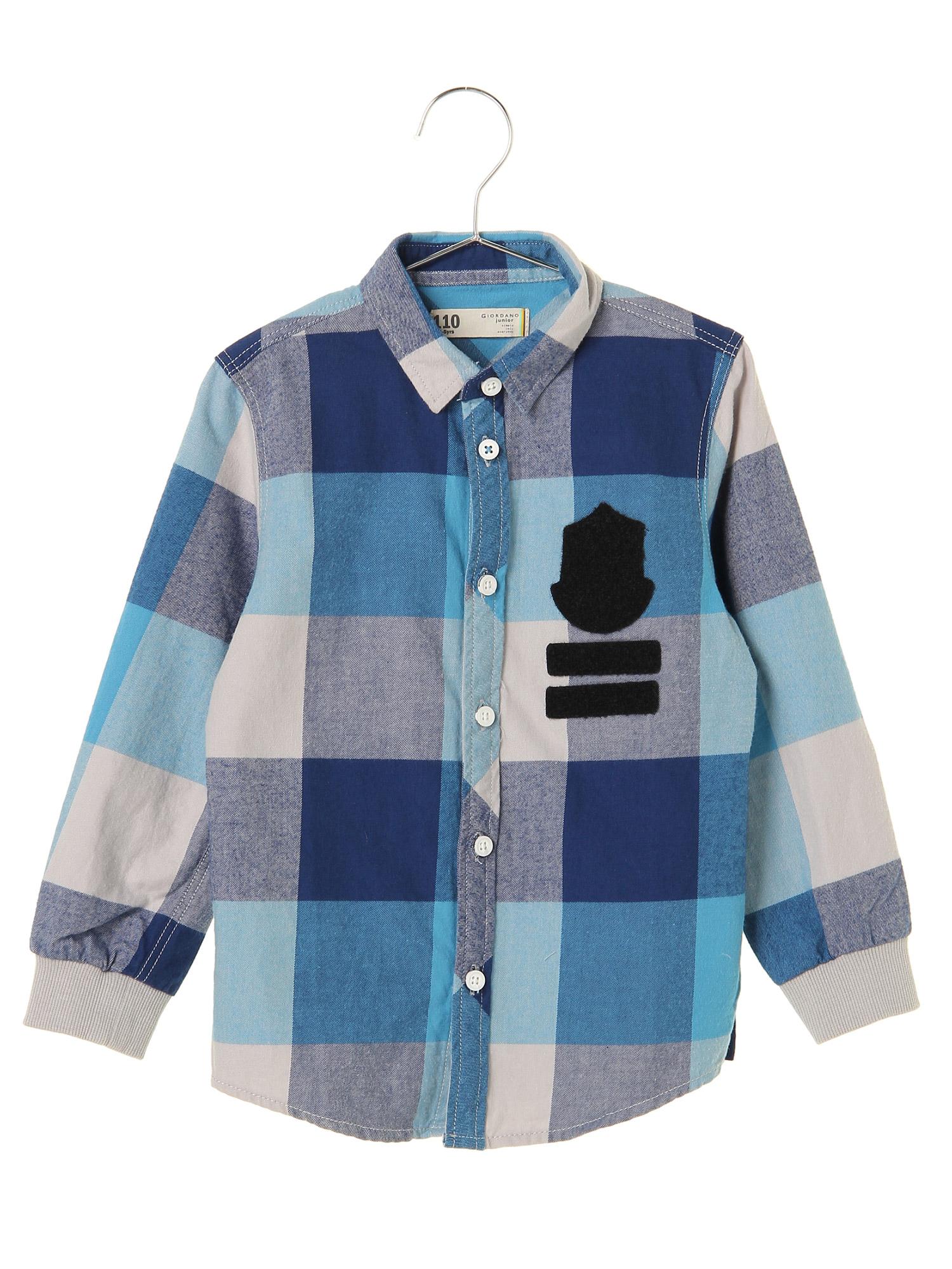 [GIORDANO]ワッペン付きフランネルチェックシャツ