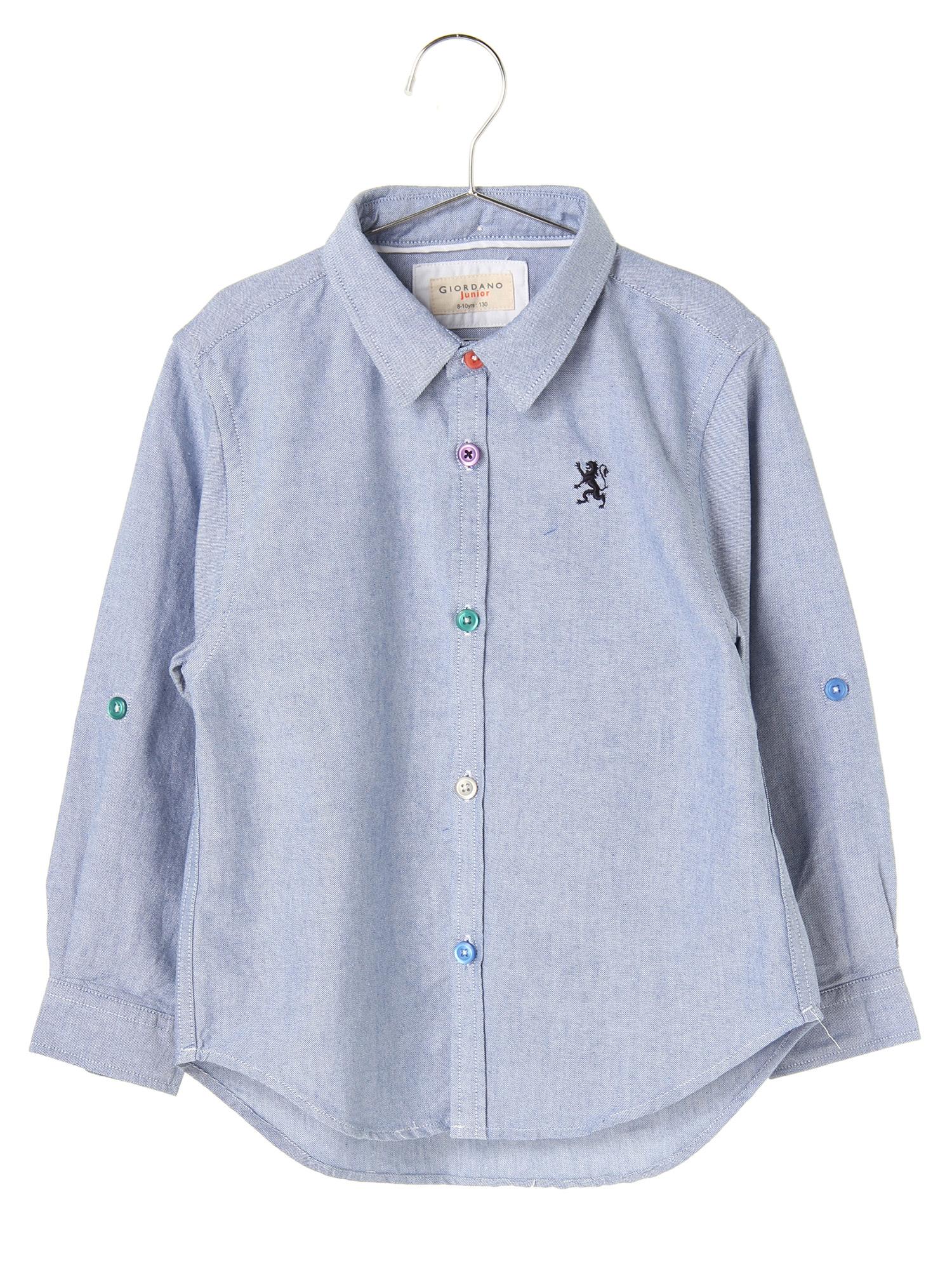 [GIORDANO]ライオン刺繍オックスフォードシャツ