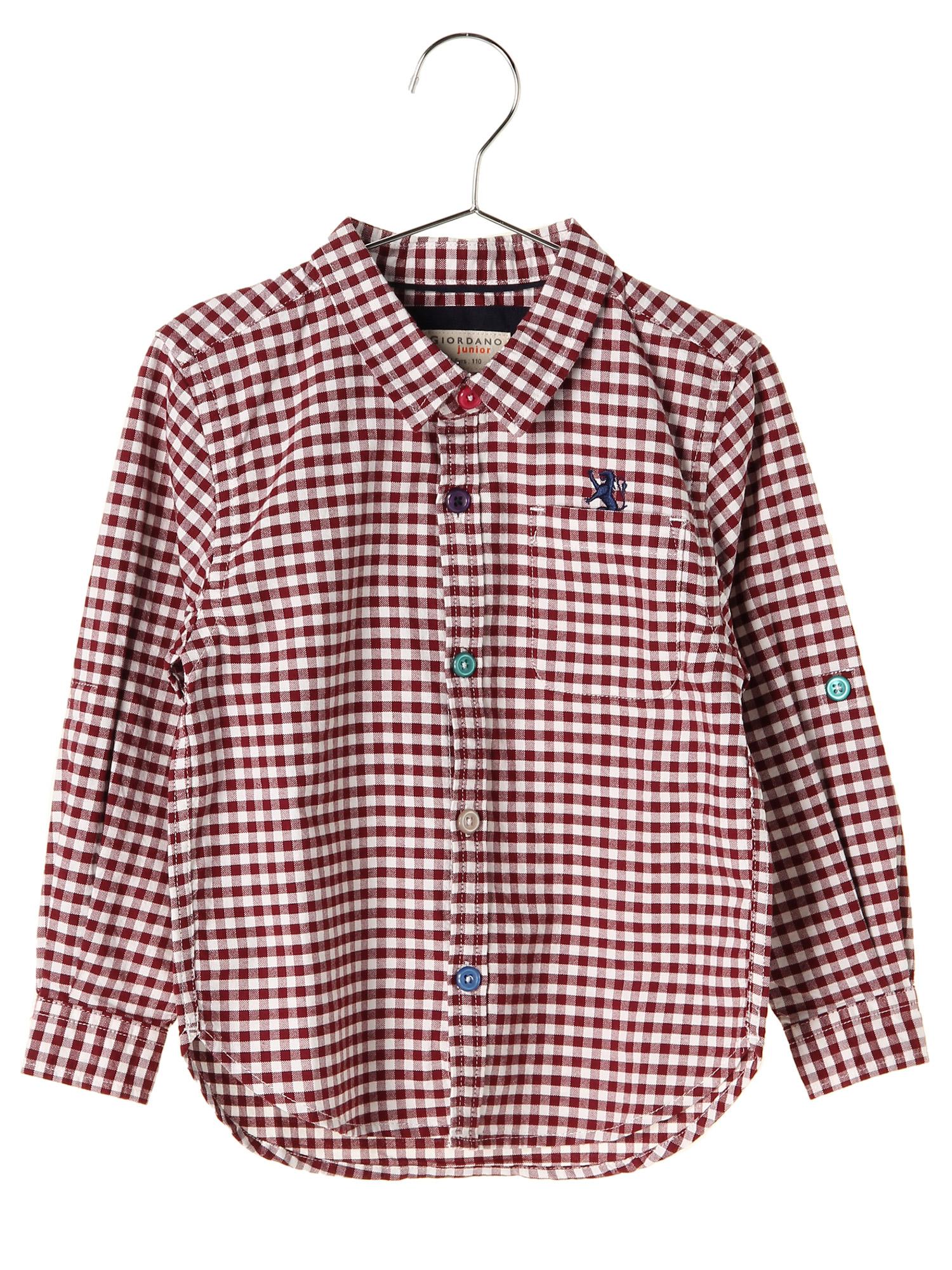 [GIORDANO]ライオン刺繍ギンガムチェックシャツ