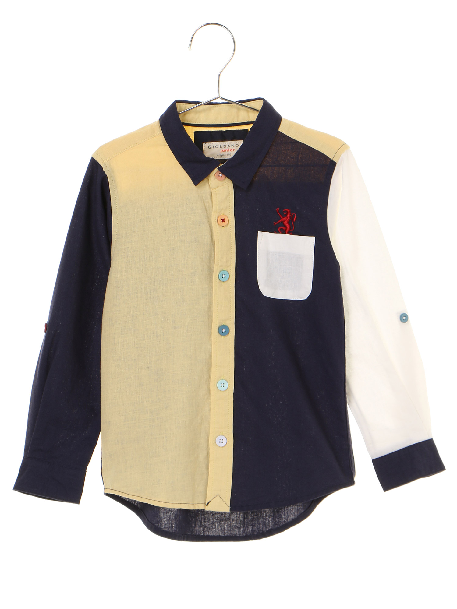 [GIORDANO]ライオン刺繍コットンリネンシャツ