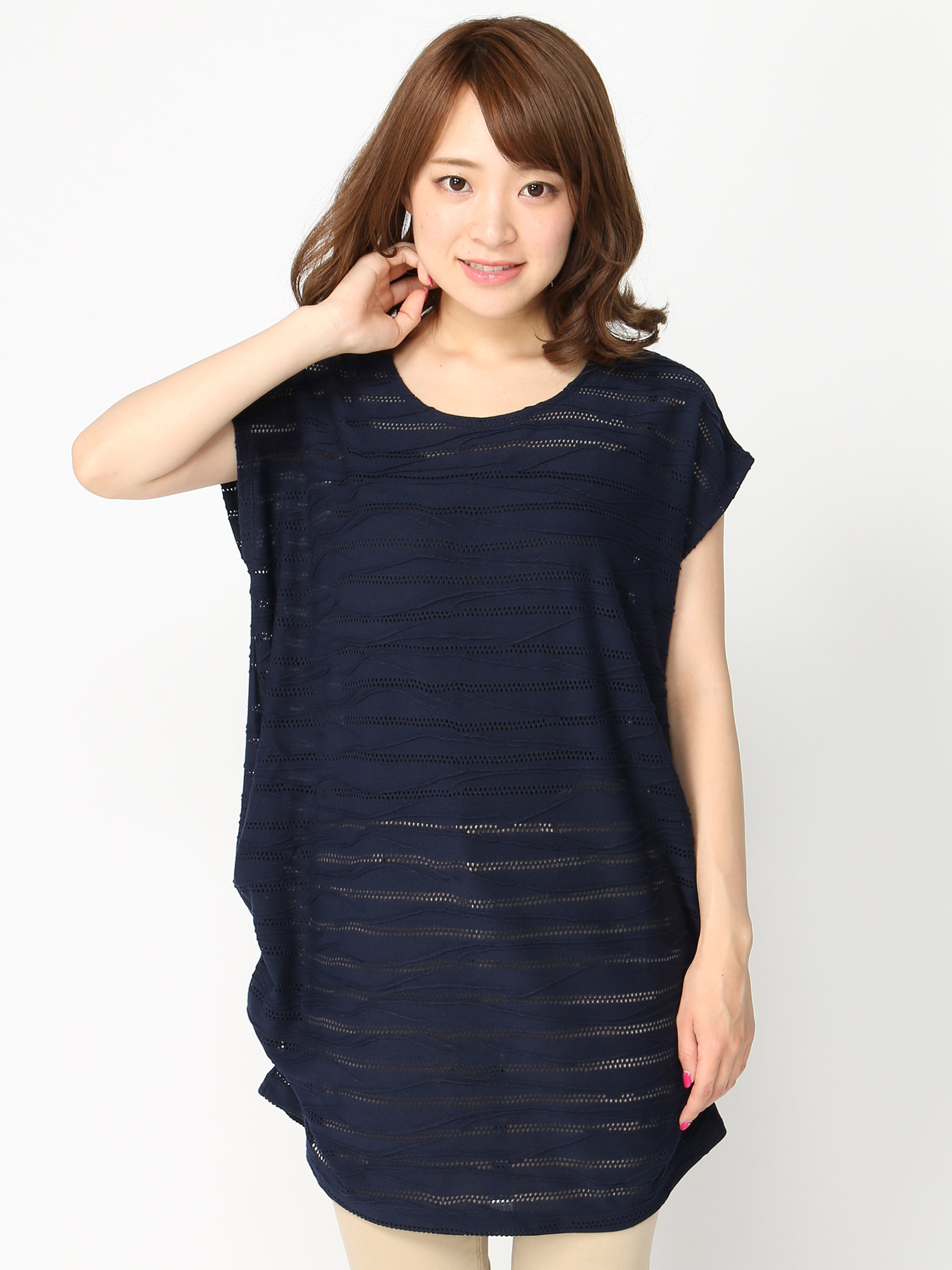 [GIORDANO]ジャガードドルマンゆるTシャツ