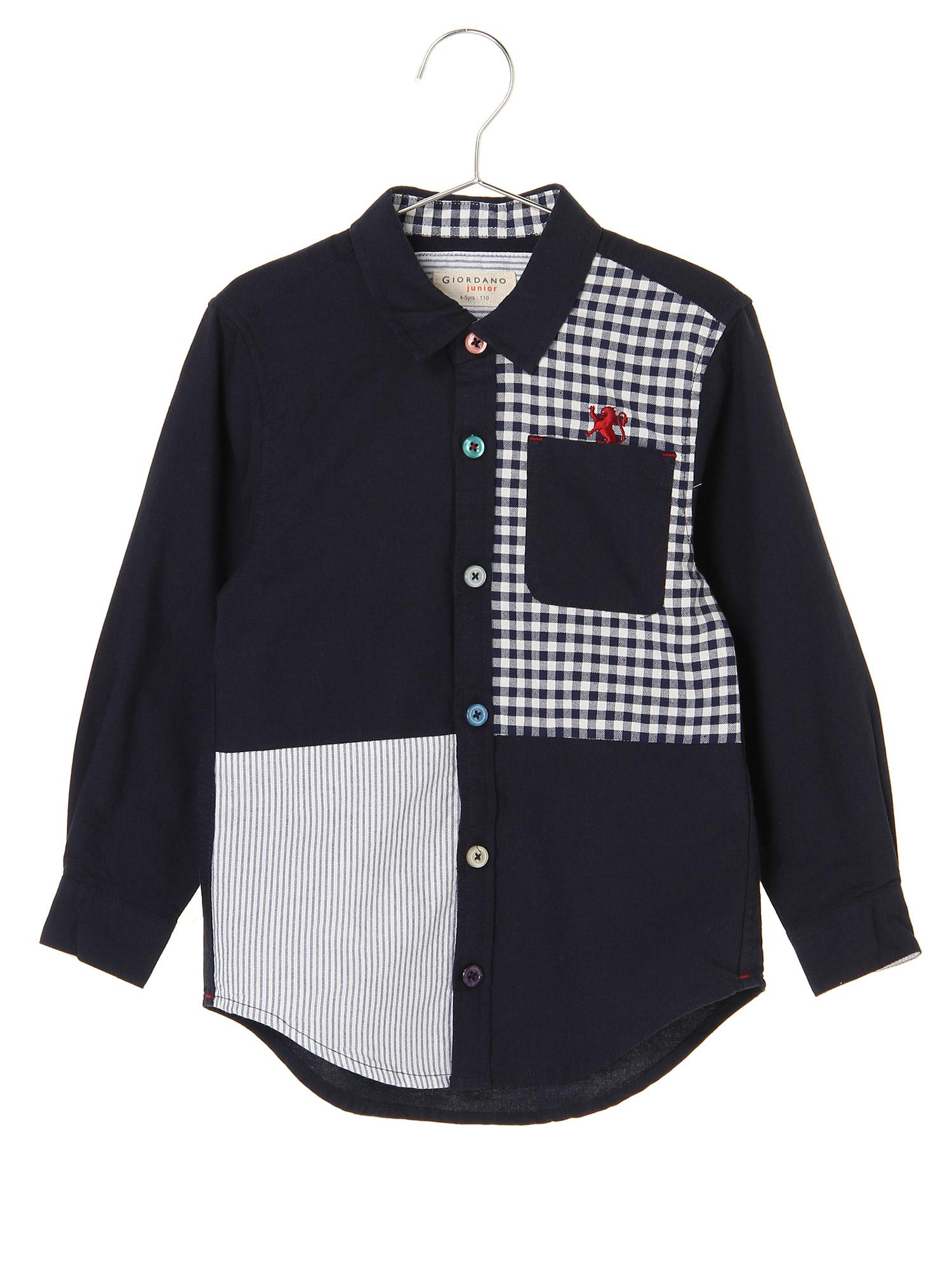 [12/28まで限定価格]ライオン刺繍ブロッキングデザインオックスフォードシャツ