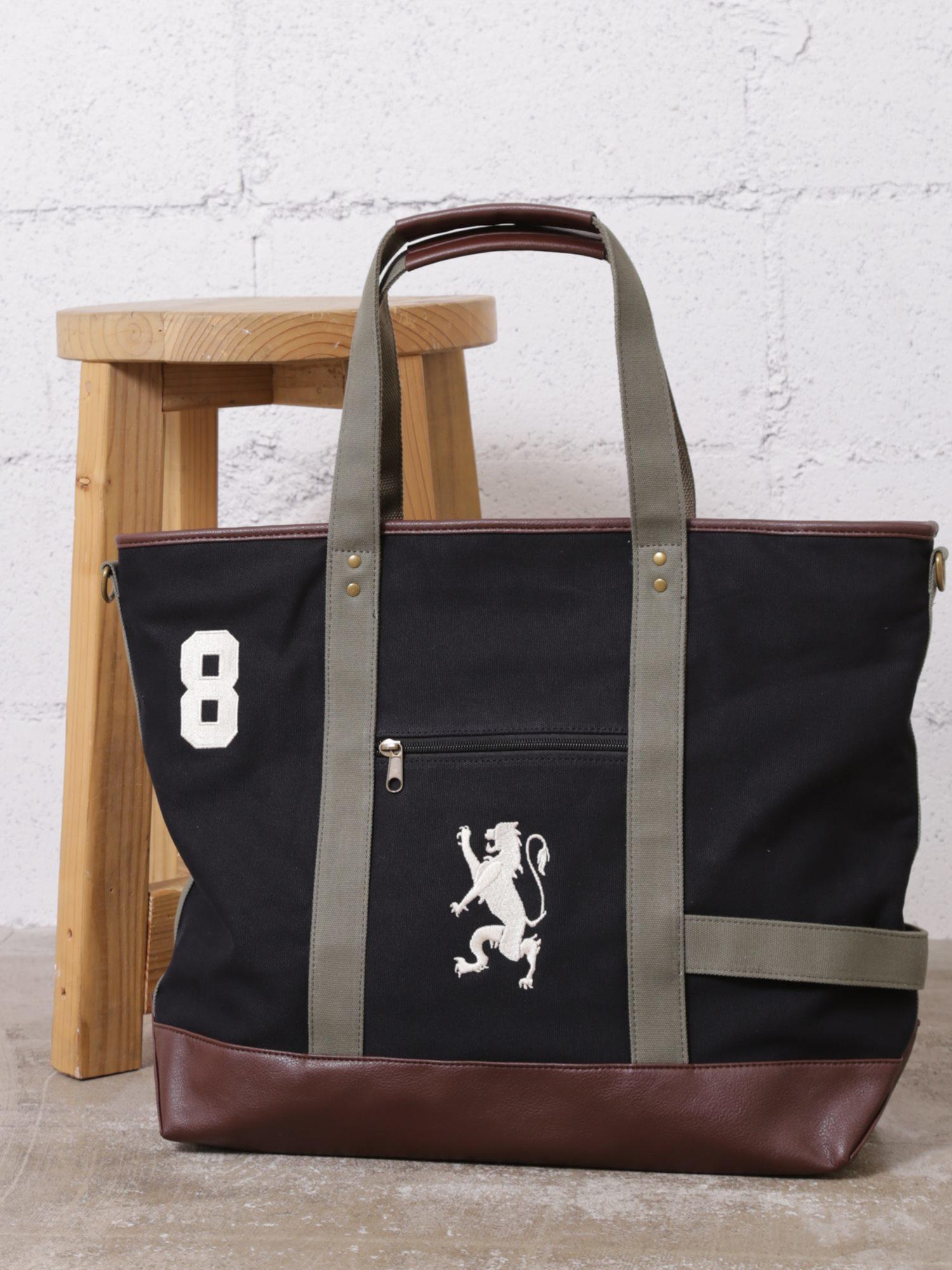 [12/28まで限定価格]ライオン刺繍キャンバストートバッグ(Lサイズ)