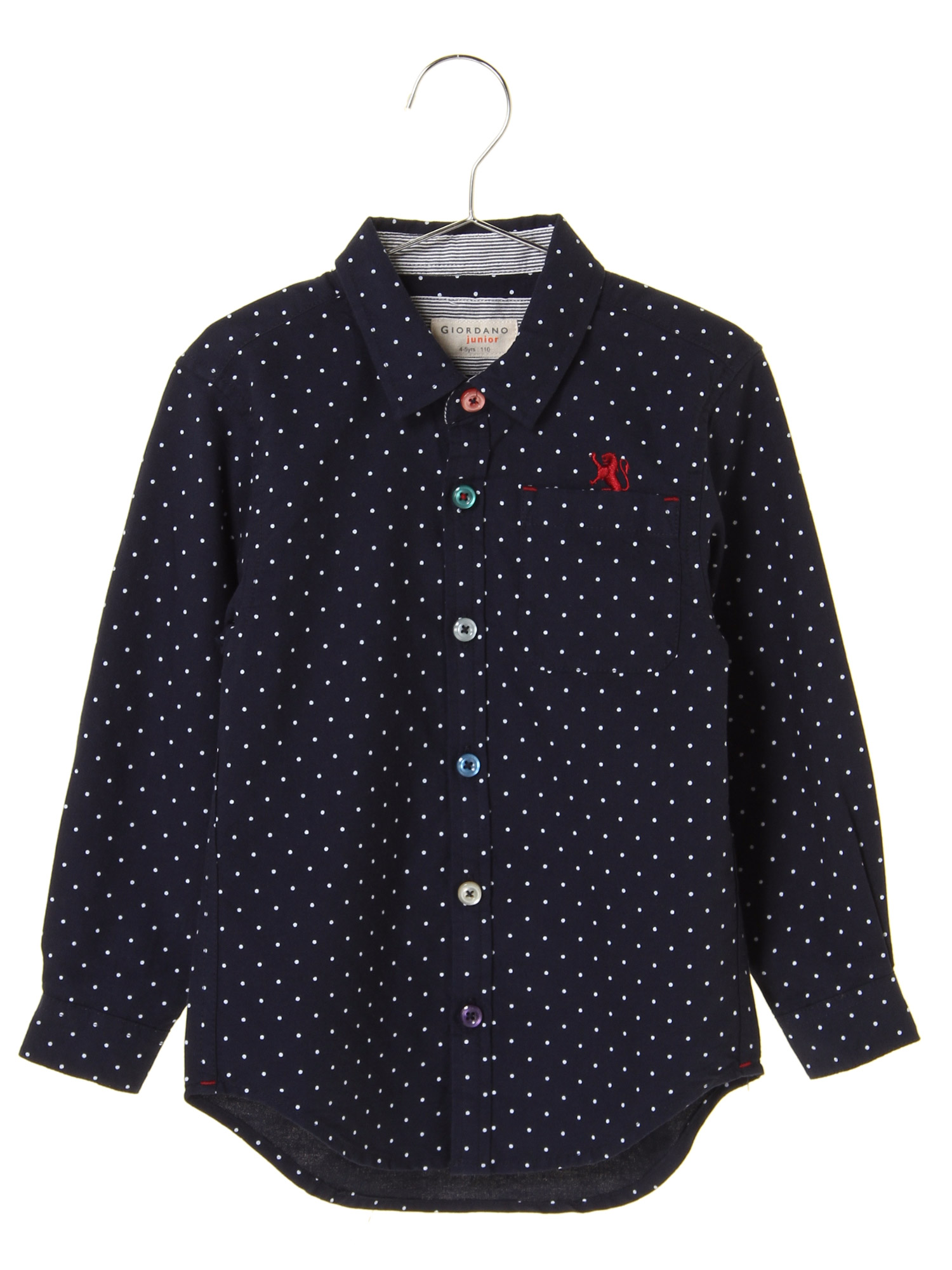 [GIORDANO]ライオン刺繍ドットシャツ