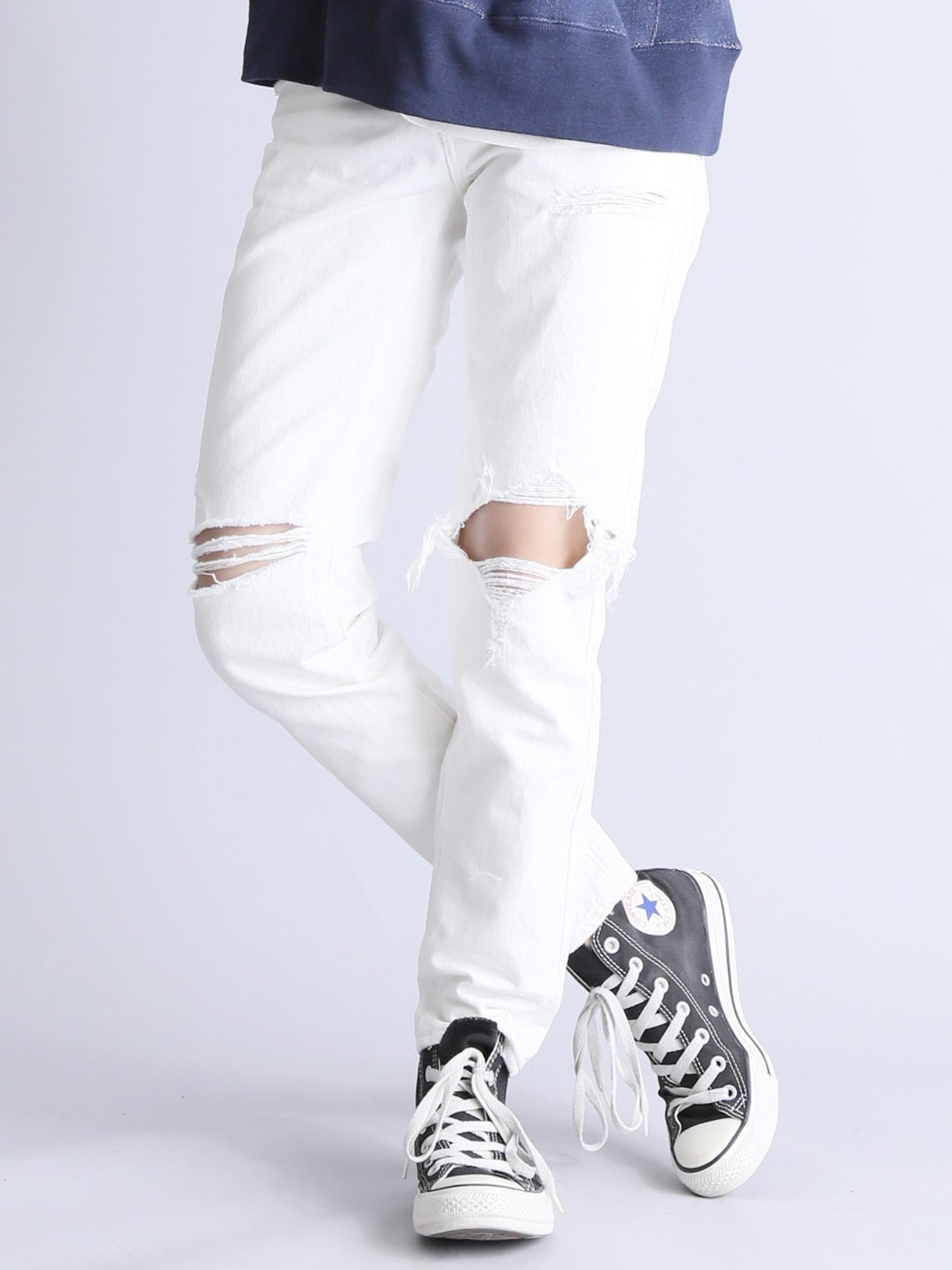 CLASH WHITE DENIM STRAIGHT PANTS/クラッシュホワイトデニムパンツ